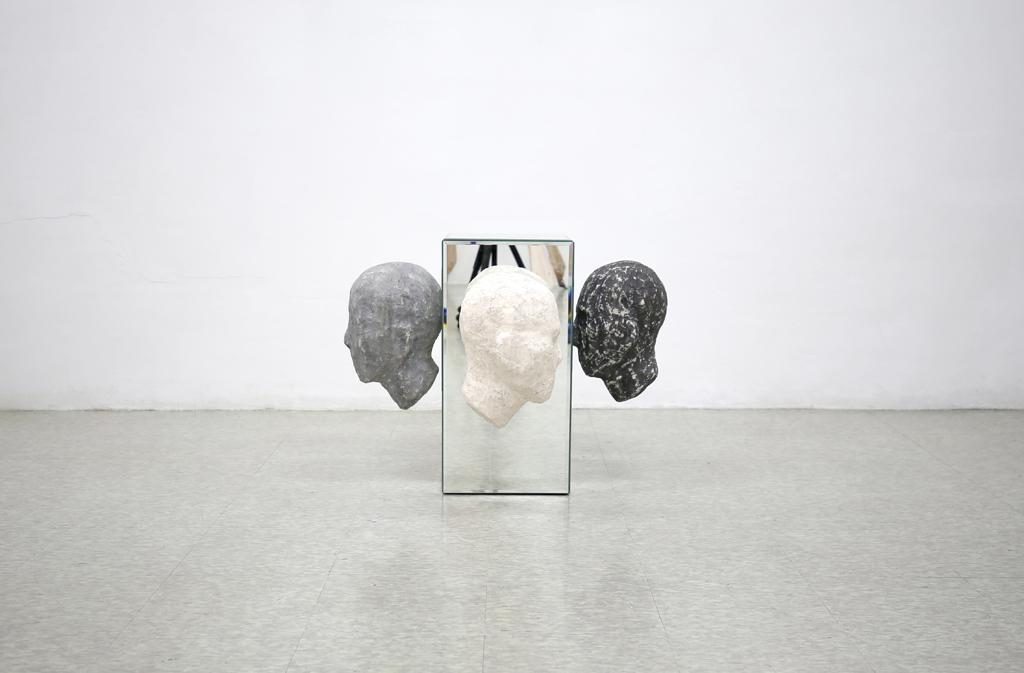 39_Familiar Conflict Mirror, plaster bandagr, acrylic, wood, steel 60x75x75cm 2016