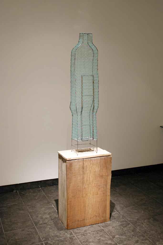 73_Single #4 Stainless steel, wire net, fabric, spring 50x35x185cm 2006