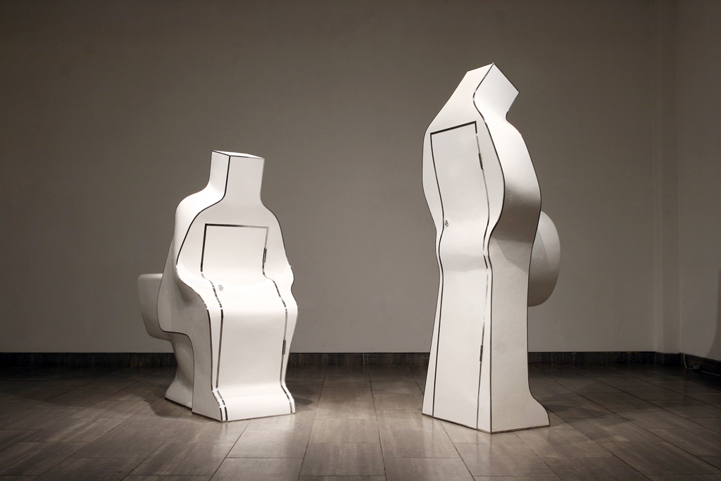 75_Single #1, #2 (from right) Plaster, stainless, paint 80x75x183cm, 90x110x150cm 2010